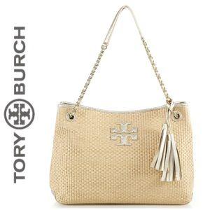 Tory Burch Thea Metallic Straw Chain Shoulder Bag